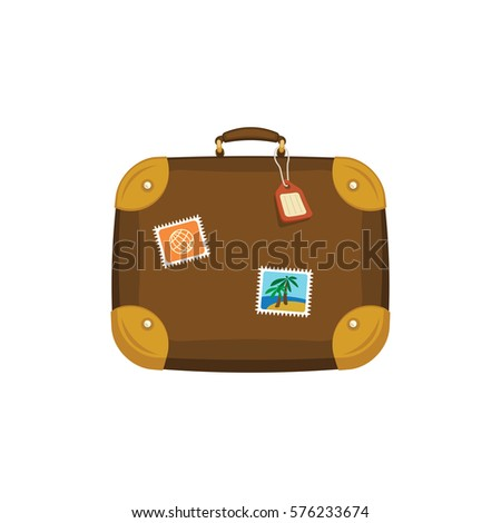 brown travel bag suitcase stickers tag stock vector royalty free