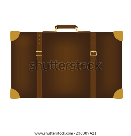 Brown travel bag vector isolated on white, tourist bag - stock vector