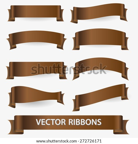 brown various curved empty ribbon banners eps10 - stock vector