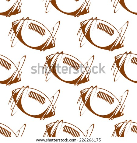 Brown vector doodle sketch rugby ball seamless background pattern with motion lines - stock vector