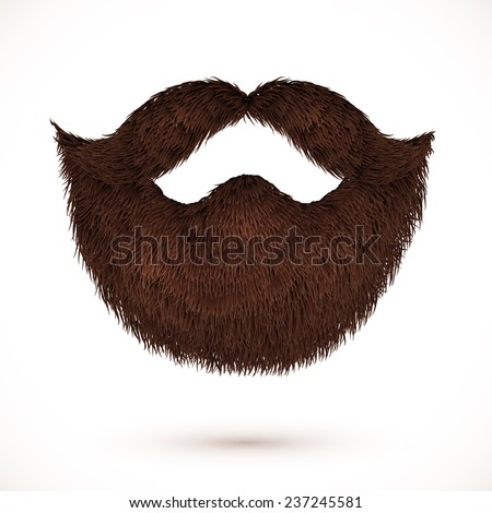 Brown vector mustaches and beard isolated on white background - stock vector