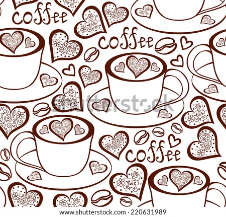 Brown vector seamless pattern with coffee cups - stock vector