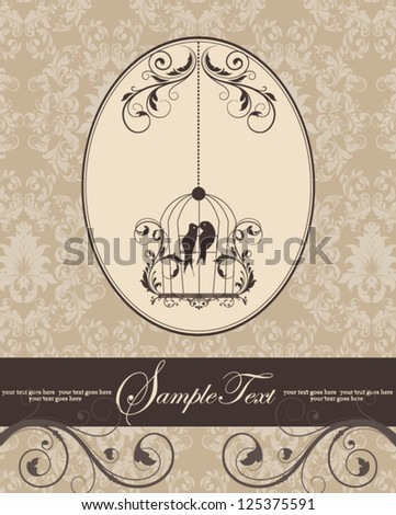brown vintage invitation card with birdcage - stock vector