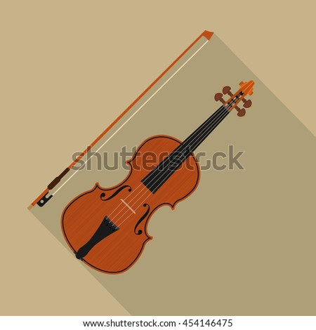 brown violin and bow - stock vector