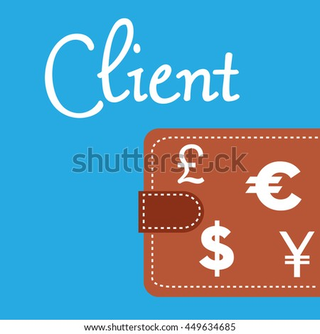 Brown wallet isolated on a blue background and the word client written with handwritten letters - stock vector
