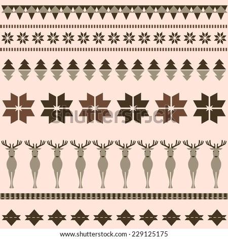 Brown winter ornamental pattern with deer - stock vector