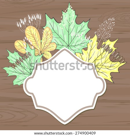 Brown wooden background with blank retro label and leaves - stock vector