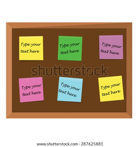 Brown wooden bulletin board with six color stick notes yellow, green, pink, purple and blue. Notice board. Cork board. School bulletin board - stock vector