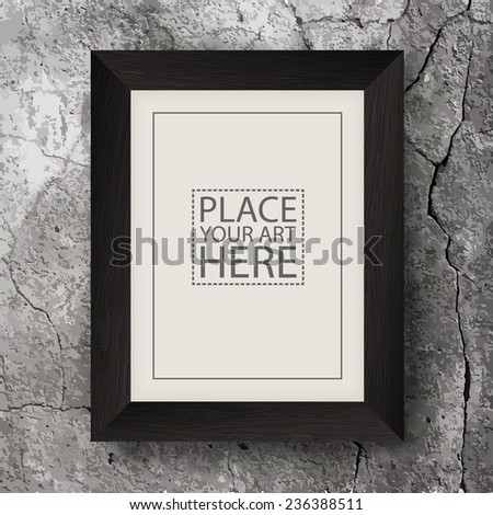 Brown Wooden Frame on Concrete Cracked Wall - stock vector