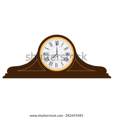 Brown wooden old clock with roman numerals vector illustration. Vintage desk clock. Table clock  - stock vector