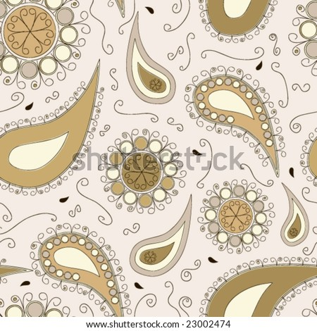 Brownish paisley pattern in doodles style - stock vector