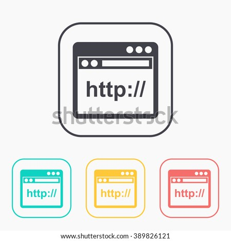 browser application window icon color set - stock vector