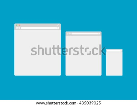 Browser template, desktop, tablet, mobile phone. Vector EPS10, isolated objects. . - stock vector
