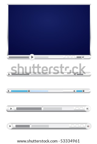 Browser video player isolated on the white background - stock vector