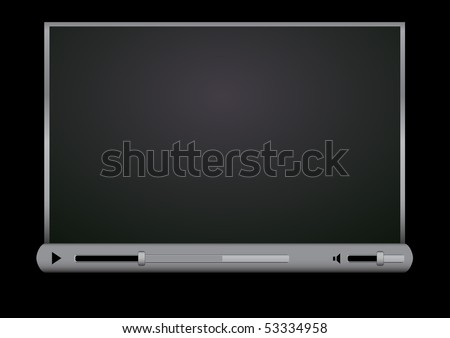 Browser video player on the black background - stock vector