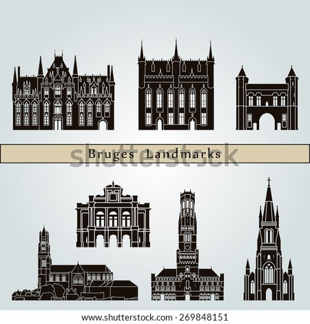 Bruges landmarks and monuments isolated on blue background in editable vector file - stock vector