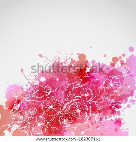 Brunch of sakura with pink blots - stock vector