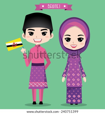 Brunei boy and girl in traditional costume - stock vector