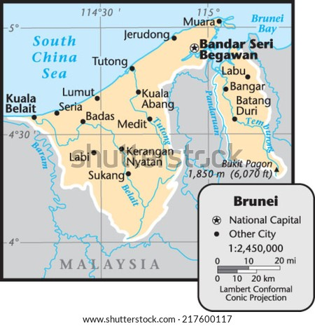 Brunei Country Map Stock Photo Photo Vector Illustration