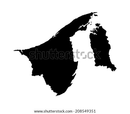 Brunei vector map high detailed silhouette illustration isolated on white background.
