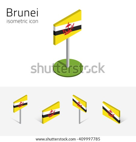 Bruneian flag (Brunei Darussalam), vector set of isometric flat icons, 3D style, different views. Editable design elements for banner, website, presentation, infographic, poster, map, collage. Eps 10 - stock vector