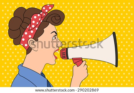 Brunet retro woman shouting with megaphone. Vintage art. - stock vector