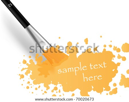 Brush and print with space for sample text - stock vector