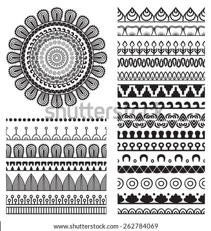 Brush collection with Mandala. Ethnic decorative elements. Hand drawn background. Islam, Arabic, Indian, ottoman motifs.  - stock vector