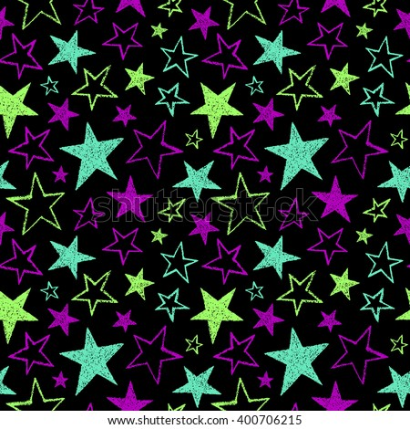 Image Gallery neon colors #1: stock vector brush drawn five pointed stars of different size seamless vector pattern bright neon colors rough