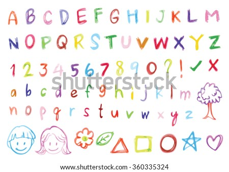 Brush Font Design Hand Writing Text Vector Typography Element Letter Colorful Freehand Alphabet