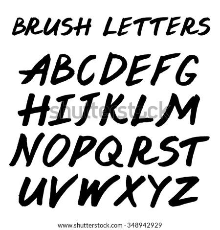 Brush handwritten full alphabet.  Black ink script font. Irregular letters. - stock vector