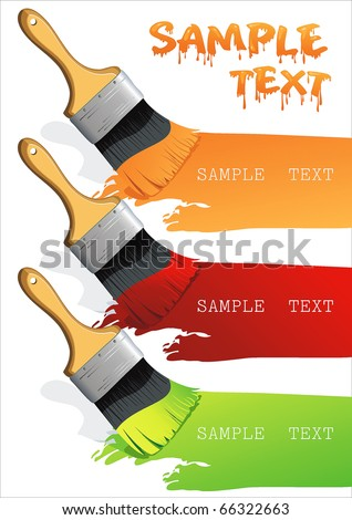 Brush on a piece of paper draw 3 colors. Isolated flat brush leaving a horizontal trail. Paint Brush. Stylish bright Vector Illustration. - stock vector
