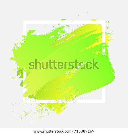 Brush painted watercolor design over white square frame. Perfect acrylic design for poster, wallpaper, headline, logo, and sale banner. Abstract background of EPS10 vector illustration. Green.