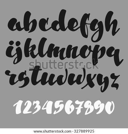 Brush pen style vector alphabet calligraphy low case letters and figures. For expressive brush retro style lettering design. - stock vector