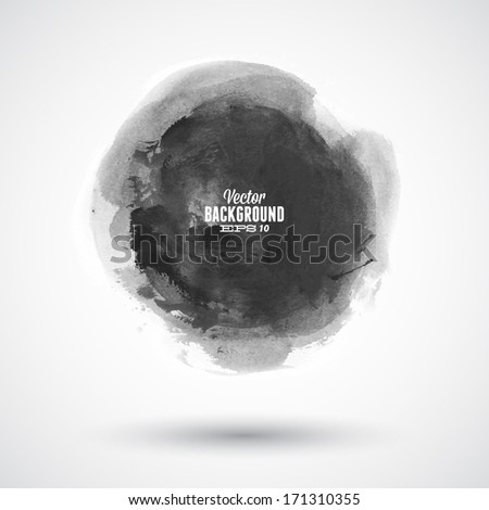 Brush stroke circle texture for buttons. Vector illustration. - stock vector