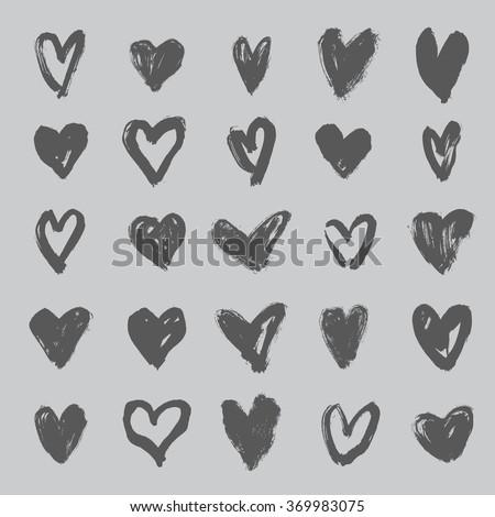 brush stroke hearts set, vol. 3 - stock vector