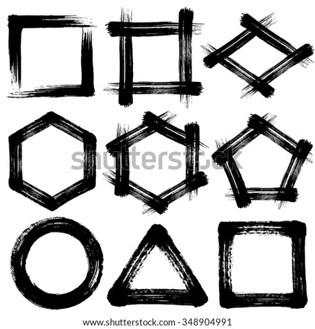 brush stroke icons. pentagon and hexagon. circle square triangle. - stock vector