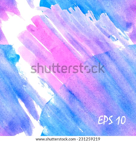 Brush stroked seamless pink and blue, magenta watercolor background pattern for web. Vector illustration. - stock vector