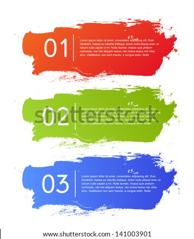 Brush strokes infographics options banner. Vector illustration. can be used for workflow layout, diagram, number options, web design. - stock vector