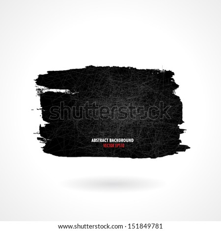 Brush strokes square shape and grunge background element, vector illustration  - stock vector