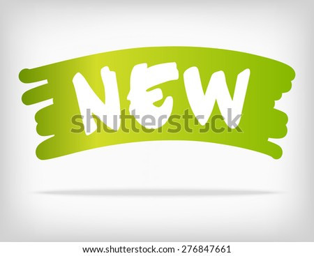Brush style stain with new product. Green bright color with gradient. Vector illustration. - stock vector