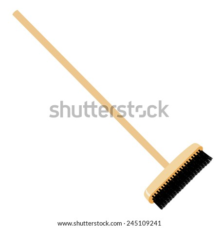 Brush vector isolated, wooden handle, household tool, cleaner with black bristle - stock vector