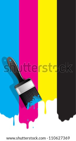 Brush with cmyk paint. Vector illustration. - stock vector