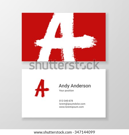 Brushed letter A hand written business card template. Vector design. Editable. - stock vector
