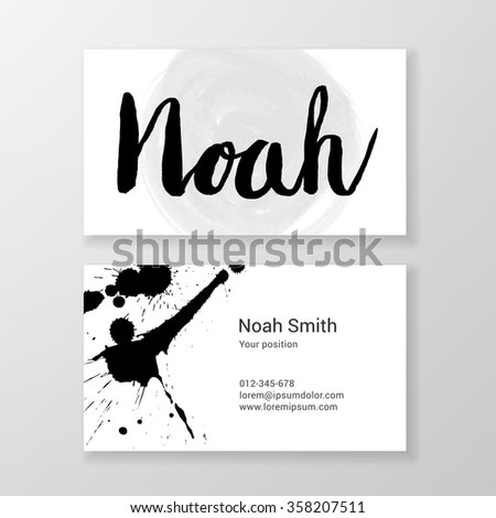 Brushed letter Noah name hand written business card template. Vector design. Editable. - stock vector