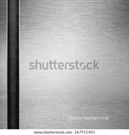 brushed metal texture, vector background, abstract modern iron background - stock vector