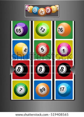 Brushed Metallic Fruit Machine with Bingo Lottery Balls and Winning Line of Black Number 8 Ball
