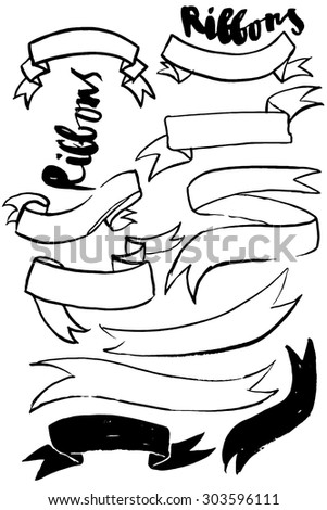 Brushed sketchy ribbons in black, vector illustration - stock vector