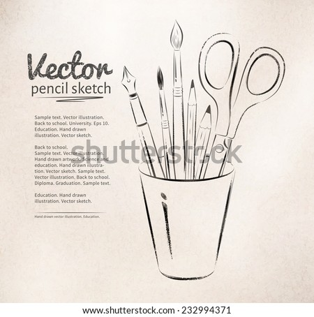 Brushes, pen, pencils and scissors in holder. Vector illustration. isolated. - stock vector