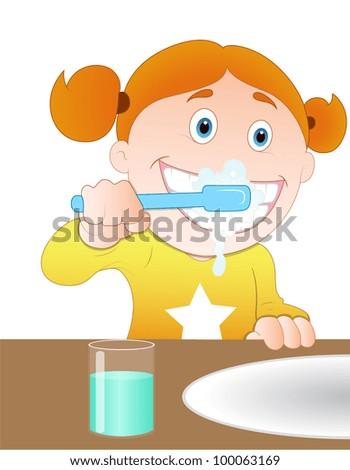 Brushing Teeth - stock vector